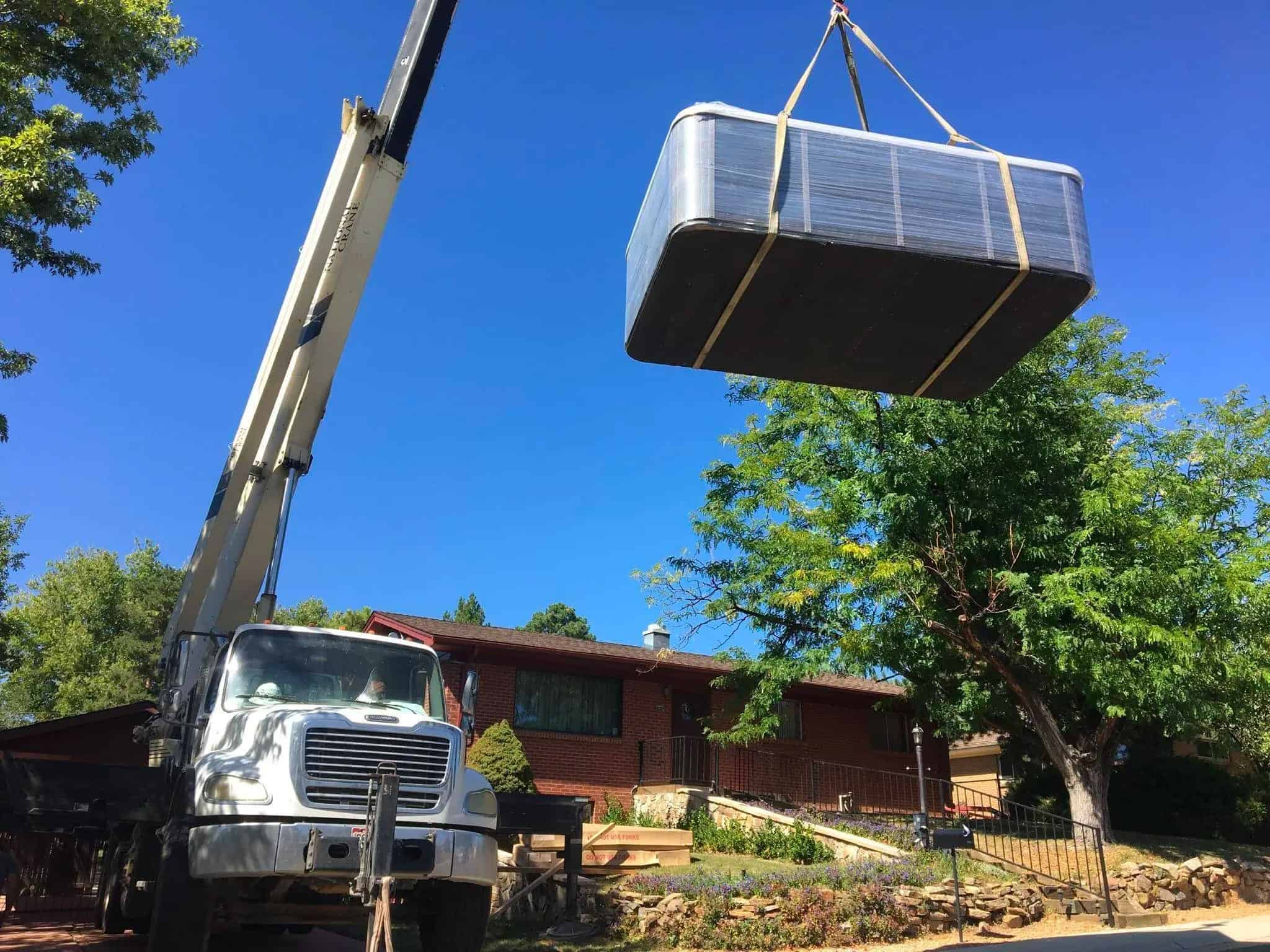 hot tub crane install