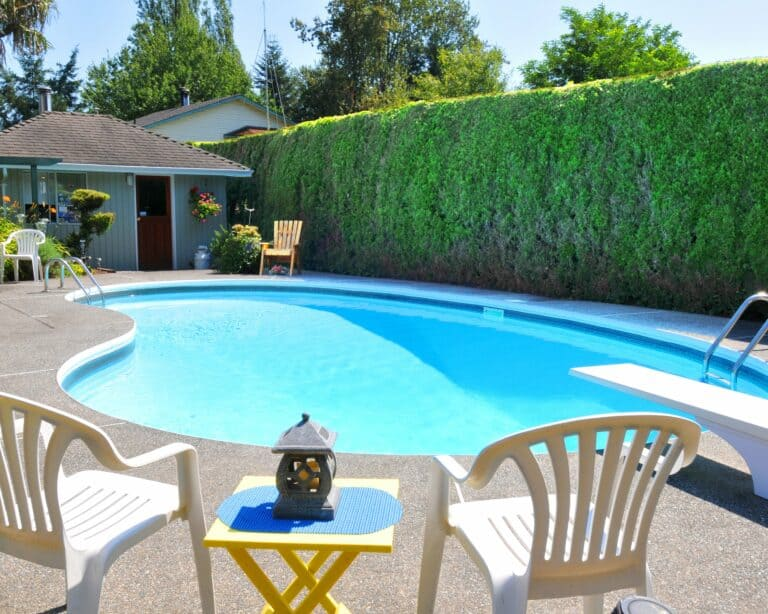 Swimming pool with accessories after pool service in Middleton